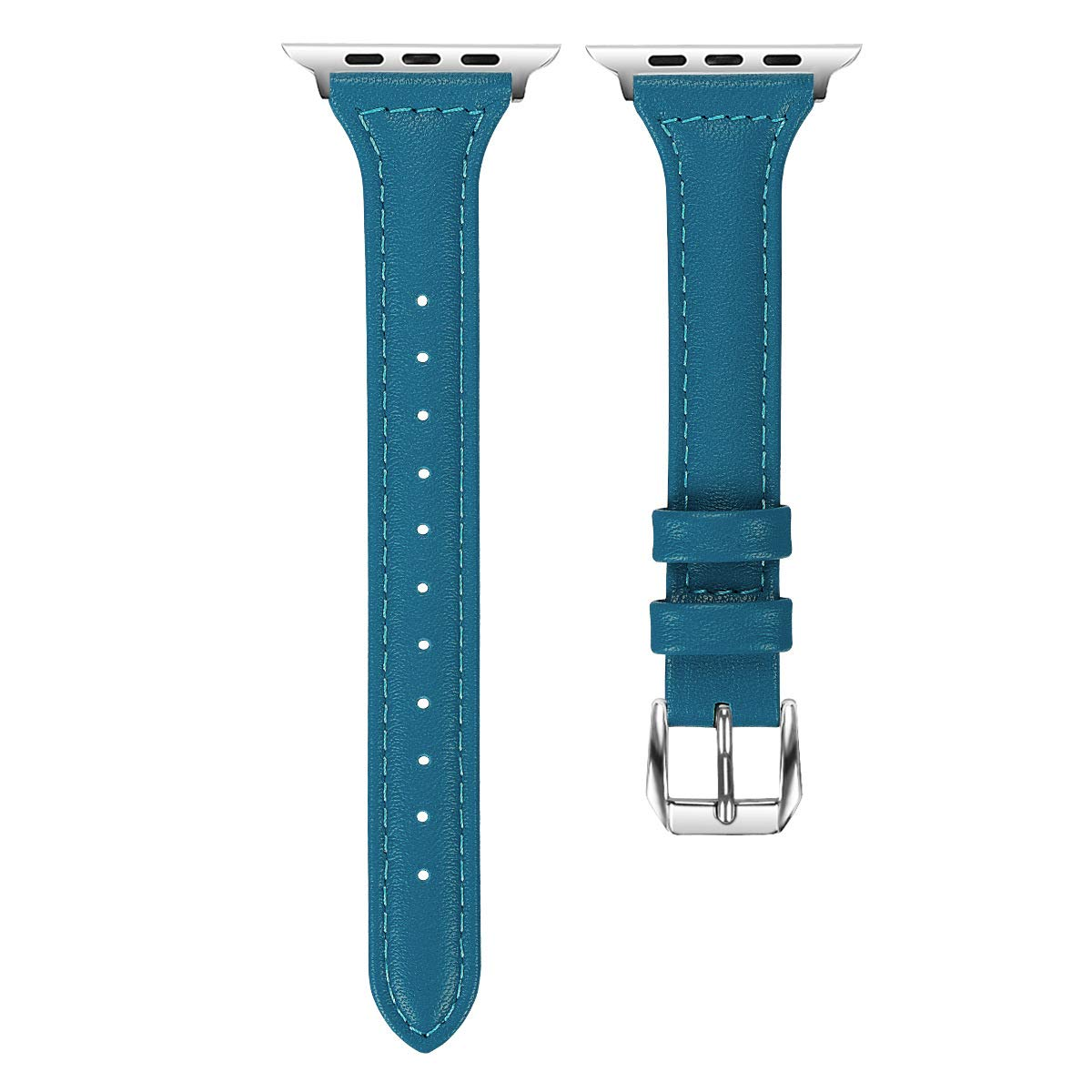 Urberry Apple watch band 42mm Leather iwatch strap Replacement Bands with Stainless Metal Clasp for Apple Watch Series 3 Series 2 Series 1 Sports Edition Women Men (Blue)
