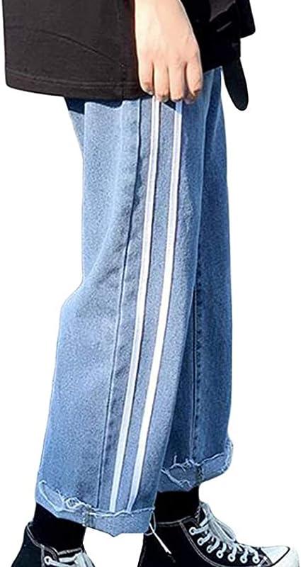 [lanjing]メンズ ワイドパンツ 夏 デニムパンツ メンズ スタイリッシュ 通学 ビジネス ジーンズ ビッグシルエット 無地 タッセル 着痩せ ゴム付き メンズ 夏 ジーンズ