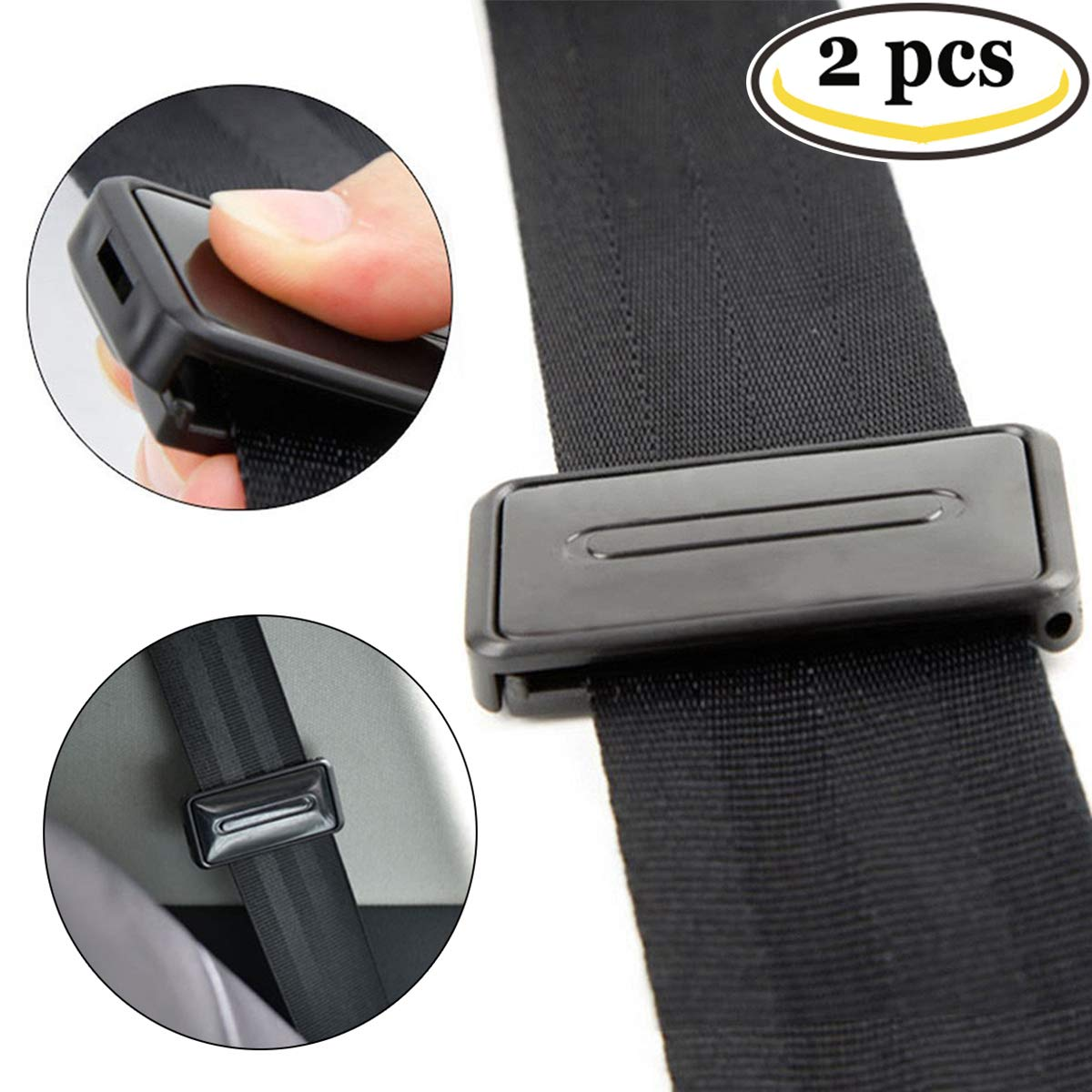 Ansblue Car Seat Belt Adjuster, Seatbelt Clips, Smart Adjust Seat Belts to Relax Shoulder Neck Give You a Comfortable and Safe Experience - 2PCS / Black