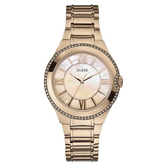 Guess W15077L1 - Reloj analógico de cuarzo para mujer con correa de acero inoxidable bañado: Amazon.es: Relojes