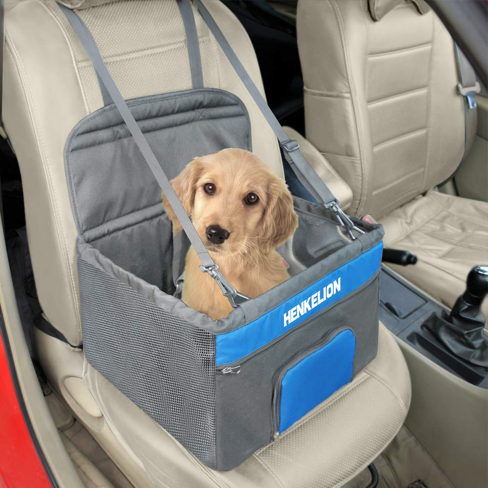 Grey bluee Henkelion Dog Car Seat for Small Dogs, Pet Dog Booster Seats for Vehicles Cars, Reinforce Metal Frame Construction   Portable Waterproof Collapsible Medium Dog Car Carrier with Seat Belt Grey bluee