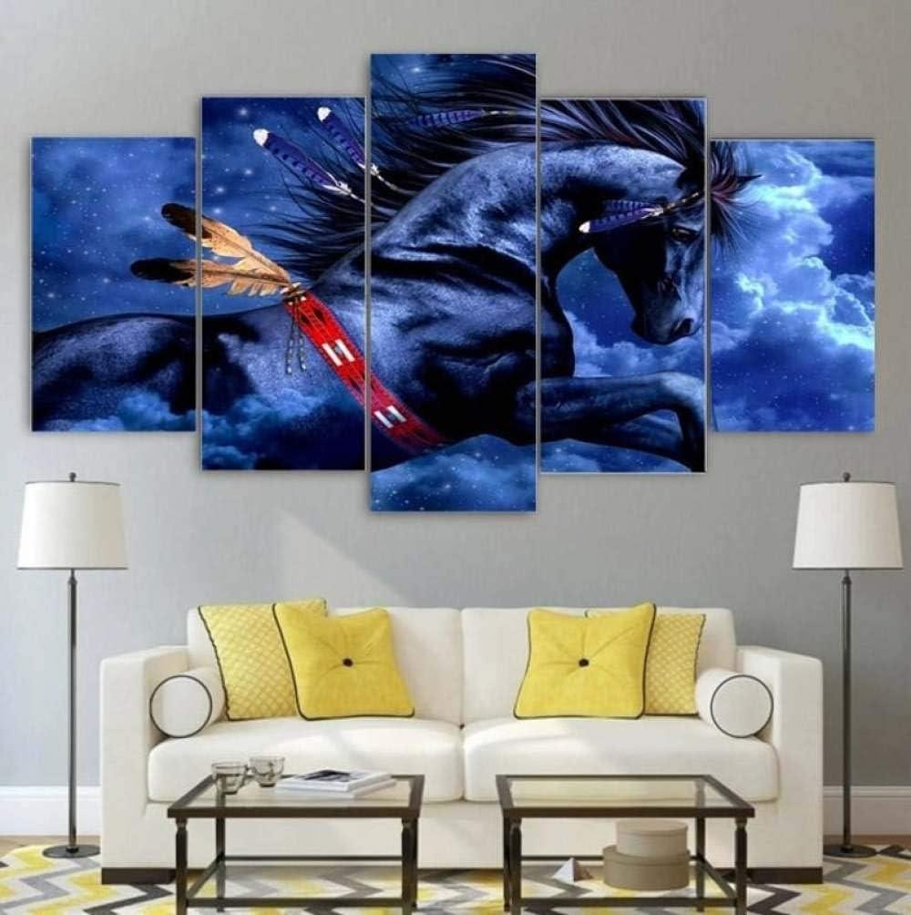 TOPRUN 5 Piezas Cuadro sobre Lienzo De Fotos Caballo Negro Lienzo Impresión Cuadros Decoracion Salon Grandes Cuadros para Dormitorios Modernos Mural Pared Listo para Colgar