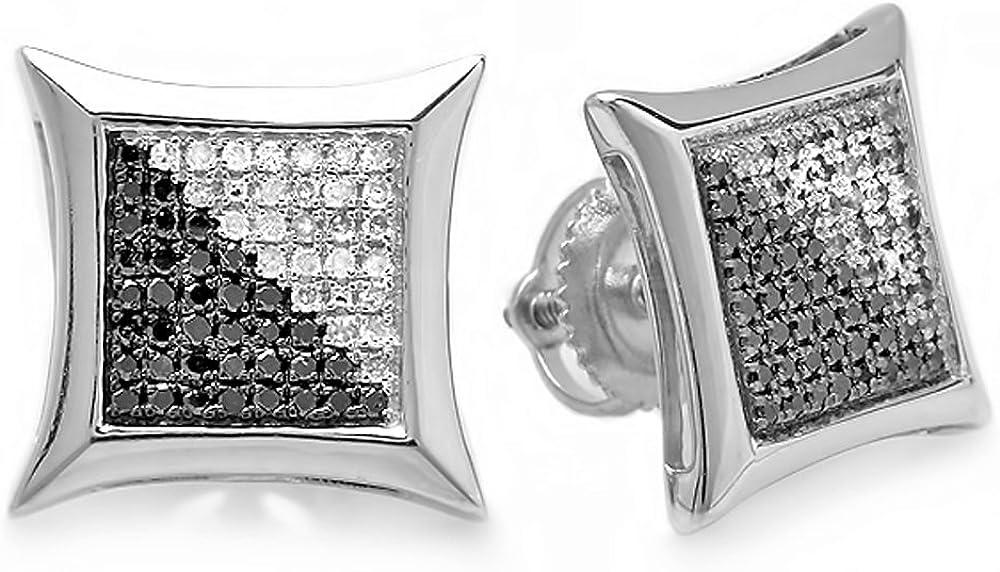 DazzlingRock Collection - Pendientes de tuerca para mujer, oro blanco de 14 quilates de 0,33 quilates y diamante redondo de color blanco y negro con forma de cometa de 1/3 quilates