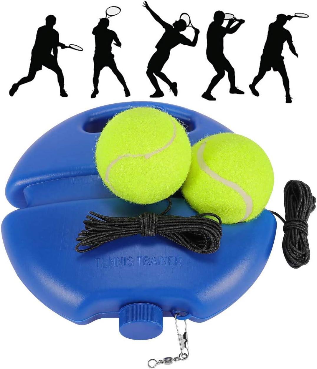Fostoy Entrenador de Tenis Bolas de Rebote con Cuerda Herramienta de Práctica Entrenamiento Base de Ejercicios Deportivos para Mujeres Hombres Childen Player Principiante Azul