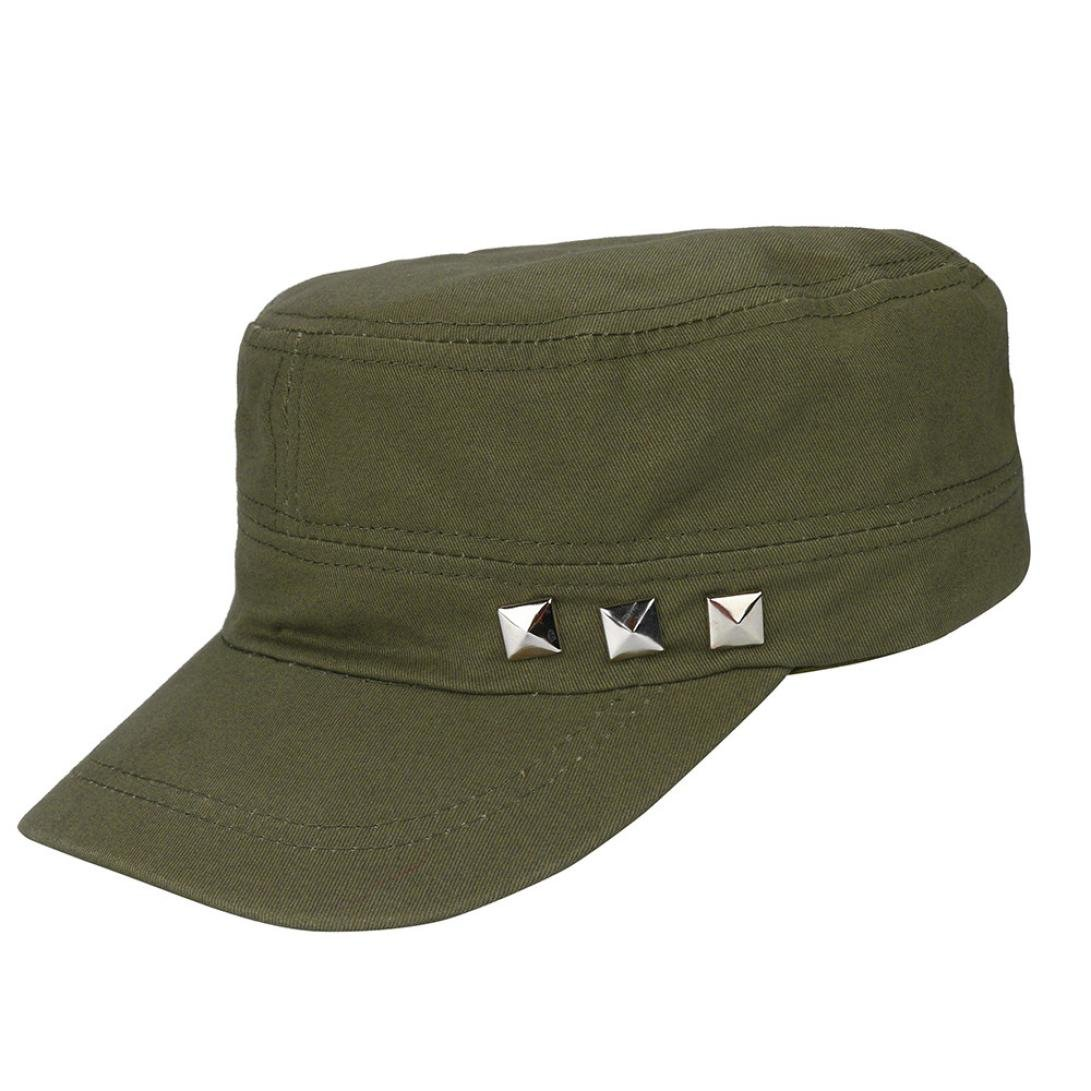Vertily Hat Unisex Classic Military Rivet Low Profile Adjustable Plain Cadet Cap FSSG-342
