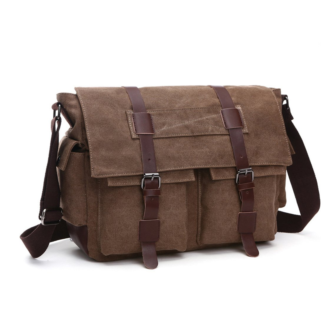 Military Mens Messenger Bag Canvas Leather Laptop Briefcase Large Cross Body Travel Shoulder Bags School Bag Fits 15.6 inch Laptop (Coffee )