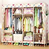 "Solid Wood Wardrobe Large Combined Folding Wardrobe Children Cloth Closet Cloth Closet DIY Wardrobe,67 * 67"",G"