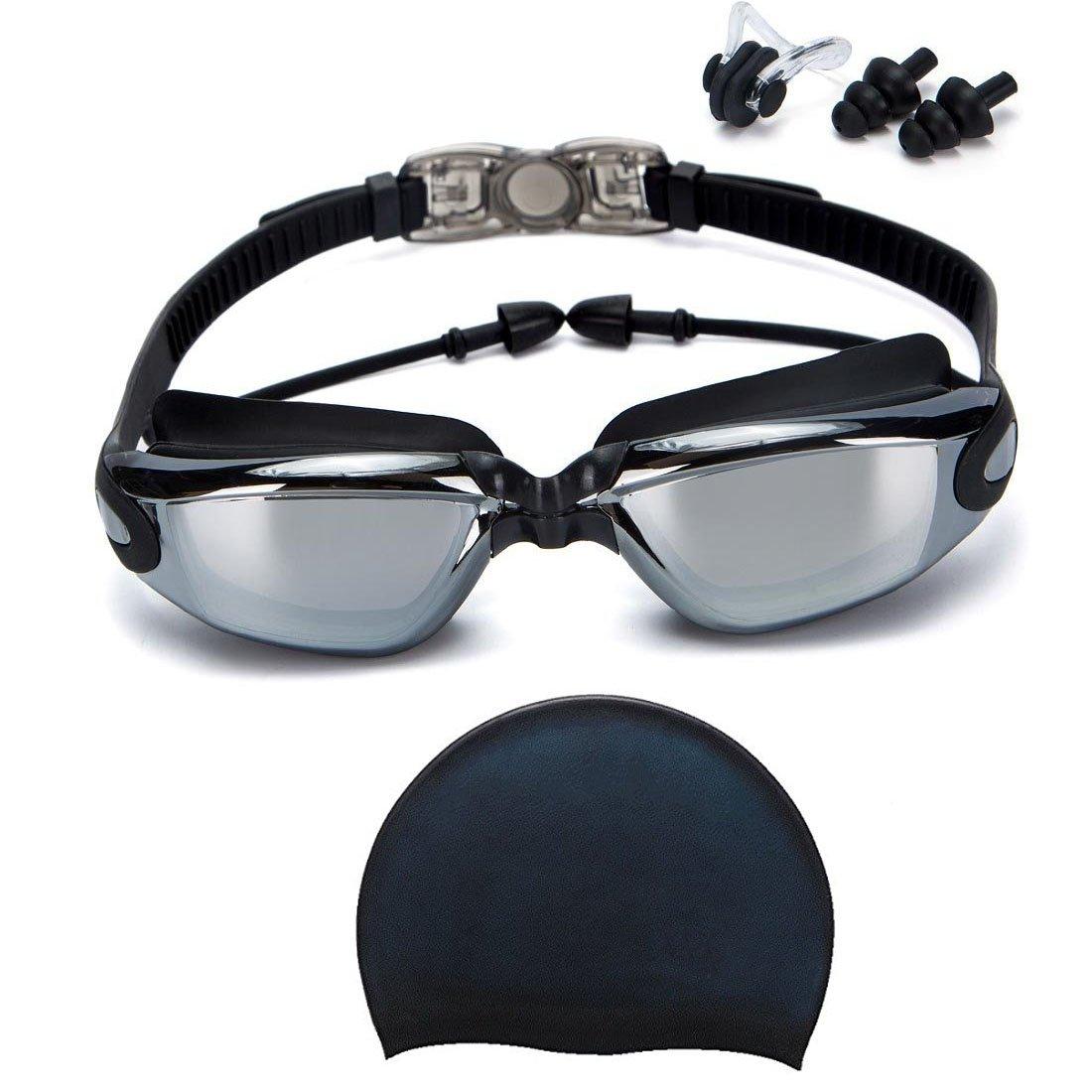 bf20956ff883 Givovanni Swim Goggles + Swim Cap, Swimming Goggles No Leaking Anti Fog UV  Protection Triathlon Swim Goggles + Nose Clip + Ear Plugs for Adult Men ...