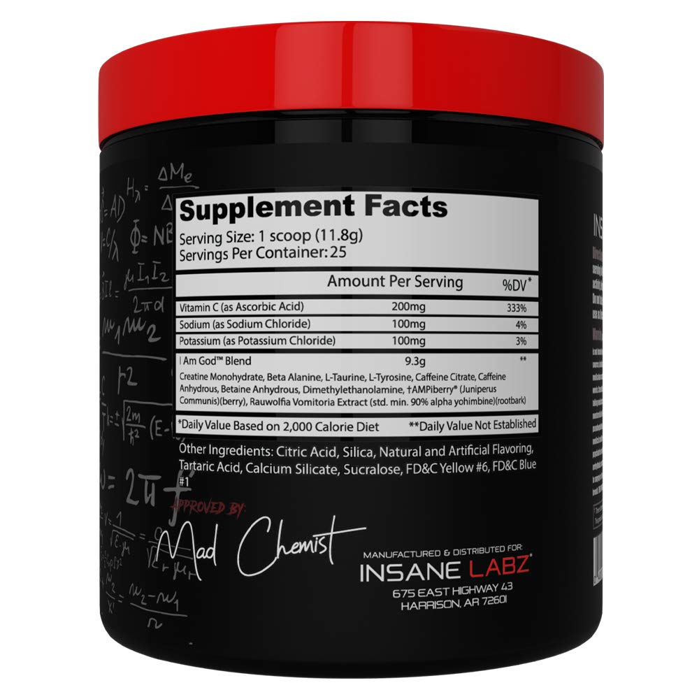Insane Labz I am God Pre Workout, High Stim Pre Workout Powder Loaded with Beta Alanine Creatine DMAE Bitartrate Fueled by AMPiberry, Energy Focus Endurance Muscle Growth,25 Srvgs,Drink Ye All of It by Insane Labz (Image #2)
