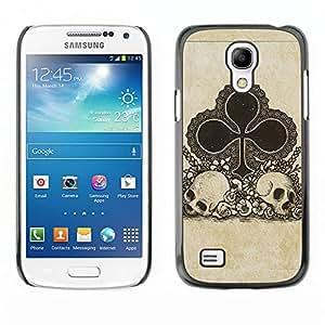 LECELL--Funda protectora / Cubierta / Piel For Samsung Galaxy S4 Mini i9190 MINI VERSION! -- Clubs Cards Poker Skull Gambling --
