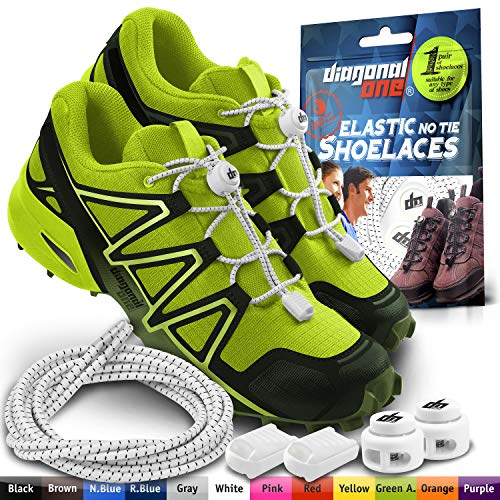 DIAGONAL ONE Elastic Shoe Laces for Men and Women, Compatible with Sneakers, Converse, Trainers, and Casual Footwear - No Tie Shoelaces Suitable for Kids, Adults, Teenagers and Seniors (White)