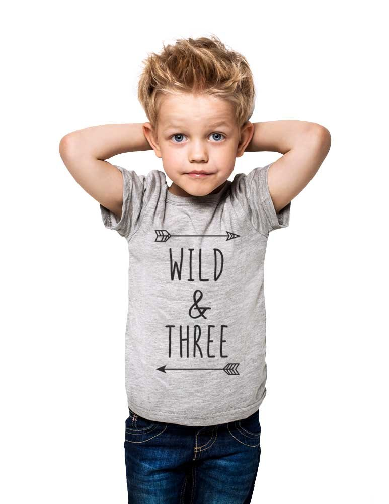 Wild & Three - Cool Boho Birthday Shirt 3rd Age 3 Three Year Old Toddler Shirt (4T Toddler Shirt, Heather Grey) by cuteandfunnykids (Image #1)