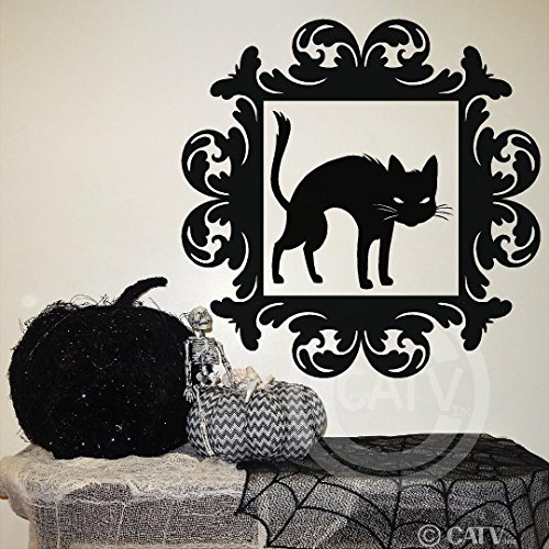 Halloween vinyl decal Frame #14 Black Cat portrait vinyl lettering