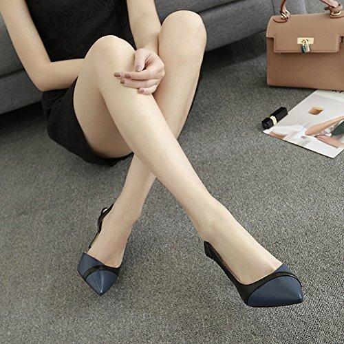 Vivioo Høje Hæle Sandaler Højhælede Sandaler Med Spidse Baotou Kvindelige Sommer Høje Hæle Med Små Vilde Ruskind Sko Blå 5cm j9Kl4