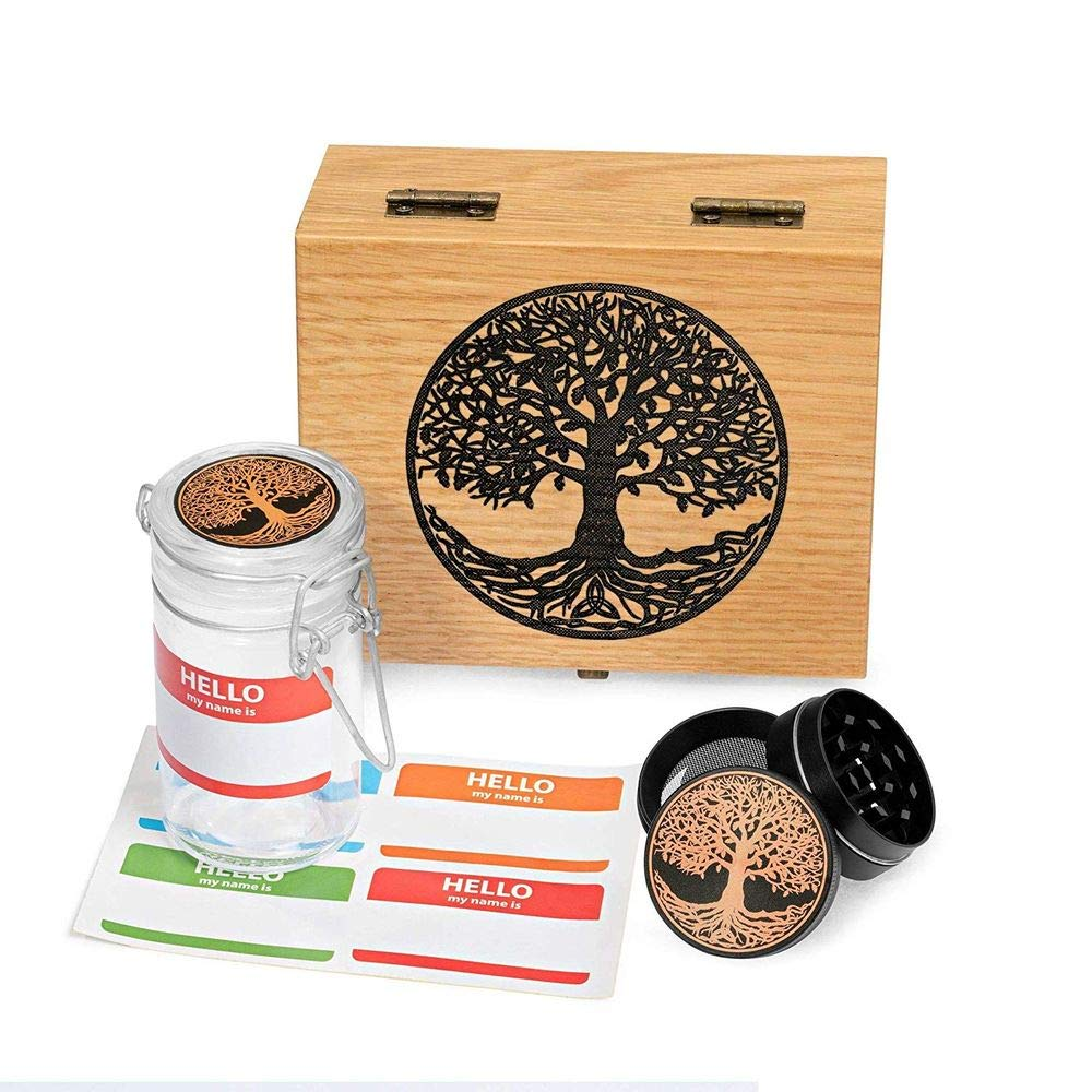 Tree of Life Oak Wood Stash Box Combo - Mini Titanium 4 Part Herb Grinder - Glass stash jar - Engraved Wood Handmade Decorative Stash Box (Oak)