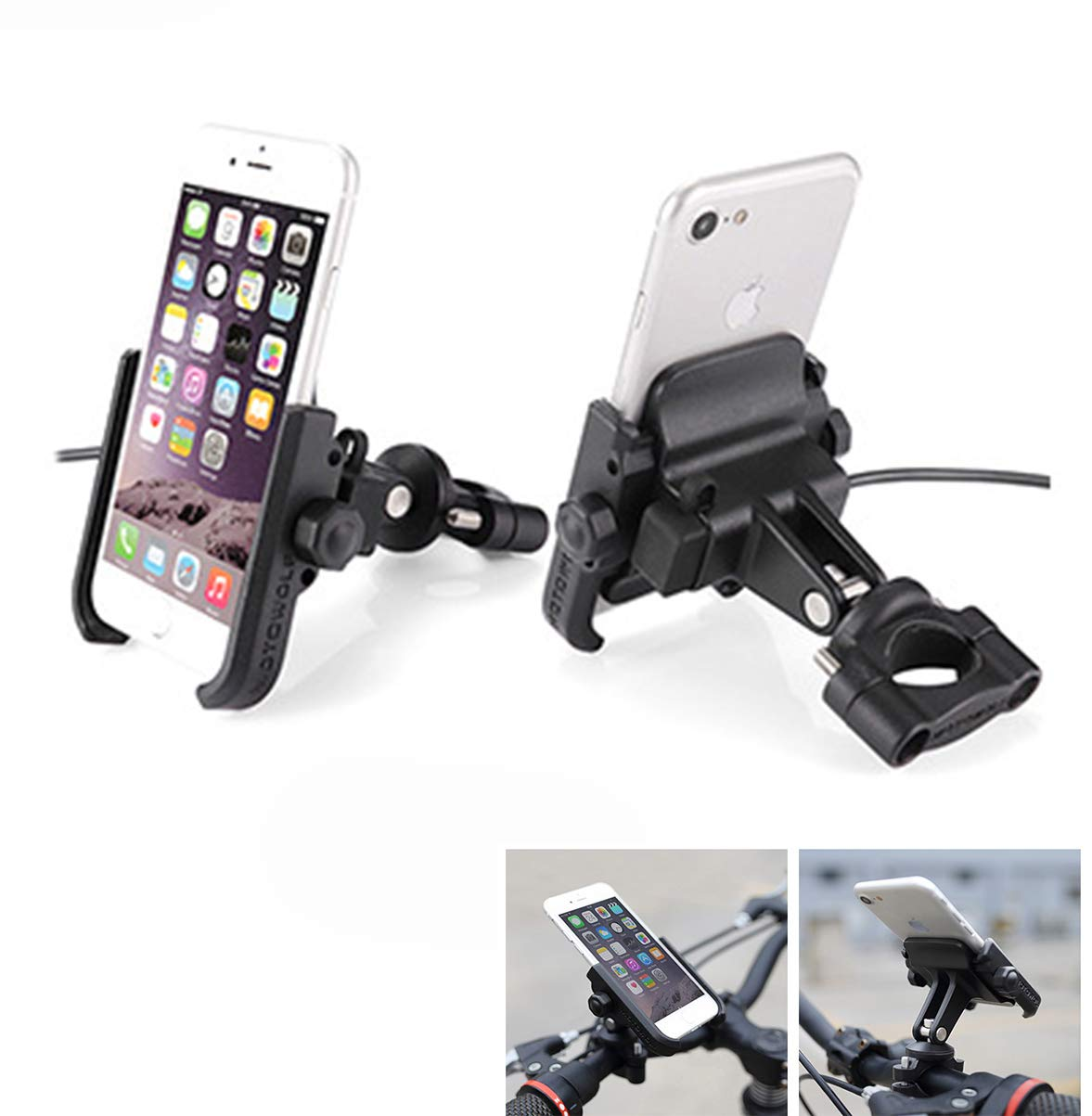 Supporto Smartphone Universale Moto Specchietto Retrovisore Ruotabile in Alluminio per Motociclo Motorino Scooter per Cellulare Navigatore GPS kaser MT-74655