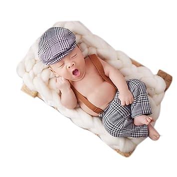 Bebé recién nacido fotografía apoyos niño Niña Crochet disfraz trajes gris (tapa de plástico y Pelele): Amazon.es: Bebé