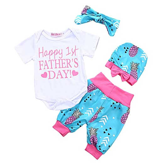 76aedaee8cdf Amazon.com  4Pcs Baby Girls Happy First Father s Day Outfits Romper ...