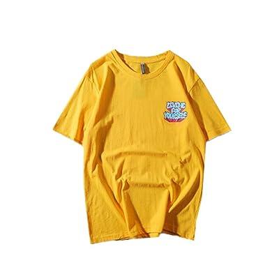 Aoliait Couple T-Shirt Col Rond Manches Courtes Casual Chemises Top Letters Imprimés Lache Blouse Haut Tendance Unisex Tunique