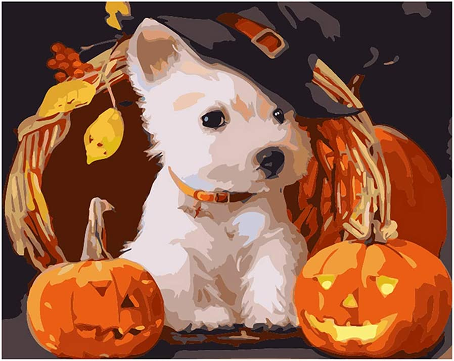"Paint by Numbers DIY Painting Kit for Adults 16/""x 20/""on Canvas Without Frame-Pumpkin Puppy"