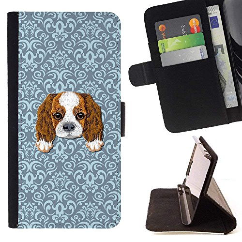[ Cavalier King Charles Spaniel] Embroidered Cute Dog Puppy Leather Wallet Case for LG V30 [ Blue Tiles Pattern ]
