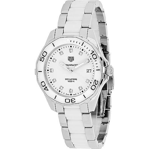 TAG Heuer Aquaracer Mujer Diamante 35 mm pulsera & caja acero inoxidable cuarzo reloj way131d.