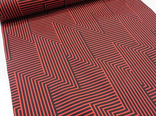 北欧風 幾何学ストライプ レッド×ブラック オックス生地 YUWA有輪 |生地|布地|綿|コットン|の商品画像