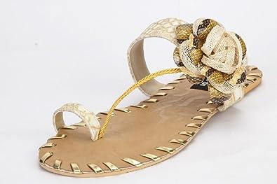 b9087491fd Rinaldi Designs Women's Beige Big Flower Flat Chappal Size -9: Buy ...