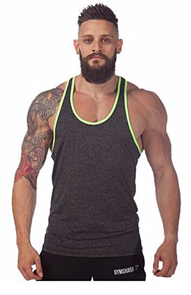 Gray Athletic Tank Top T-Shirt w  Neon Green Lining Accents (Medium ... 08c1d7b2116