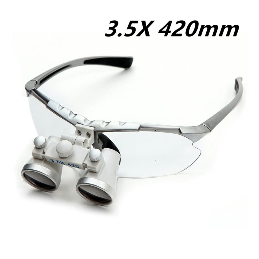 Zorvo 3.5X Binocular Loupes Dental Loupes Surgical Loupes Optical Glass Loupe 420mm 420mm Working Distance Glasses-silver color