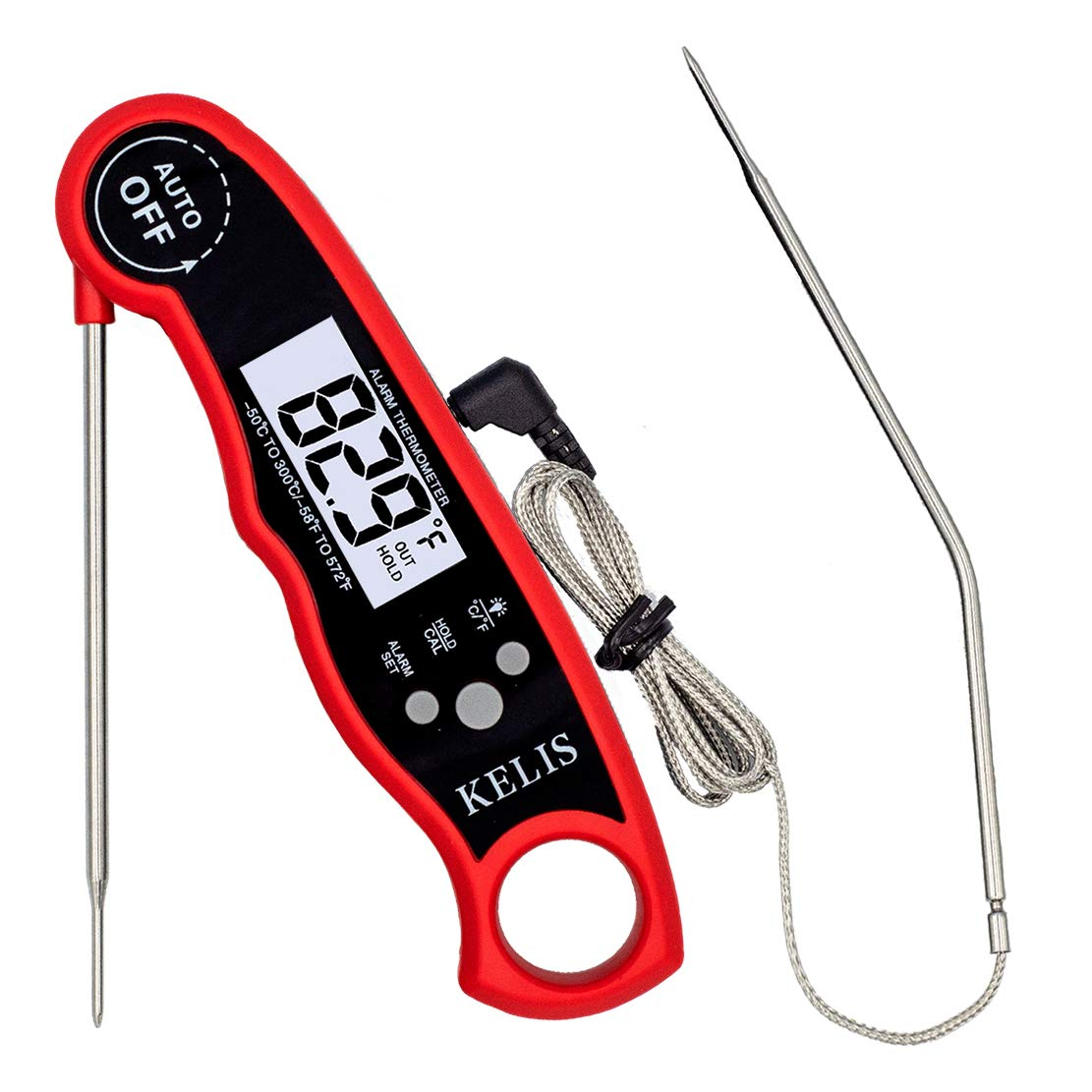 KELIS Digital Instant Read Meat Thermometer for Cooking, Food, Kitchen, Grill, BBQ, Smoker, Candy, Home Brewing, Coffee, and Oil Deep Frying, with Alarm Setting, Magnet, Dual Probe Long Wire