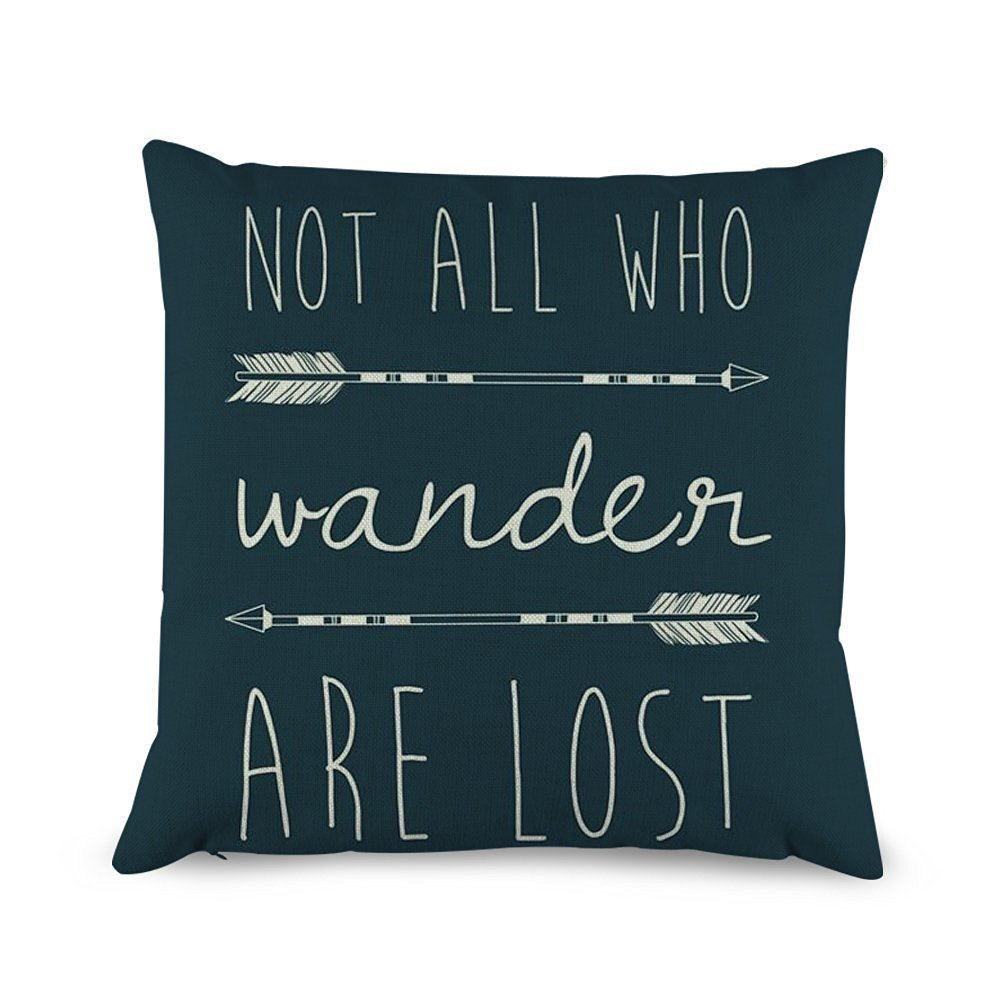 Decorbox Quotes with Arrow Throw Pillow Covers Decorative Cotton Linen Cushion Cover 18 x 18 Inches decorbox-wander