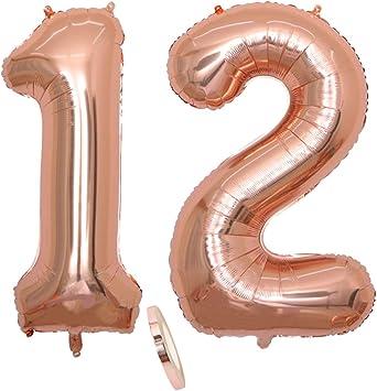 """2 Globos Número 12, number 12 Globo Chica de oro rosa, 40 """"Figuras de globos de oro rosa con globo de lámina de helio inflable, Globo gigante para decoración de fiesta de cumpleaños,Prom (xxxl 100cm)"""