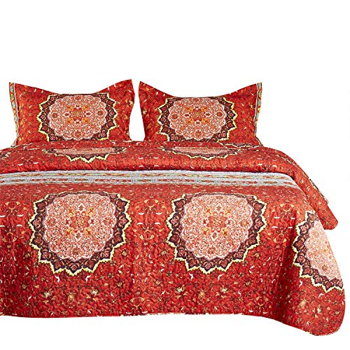 Wake In Cloud – Bohemian Quilt Set, Boho Chic Mandala Pattern Printed, Soft Microfiber Bedspread Coverlet Bedding (Queen Size)