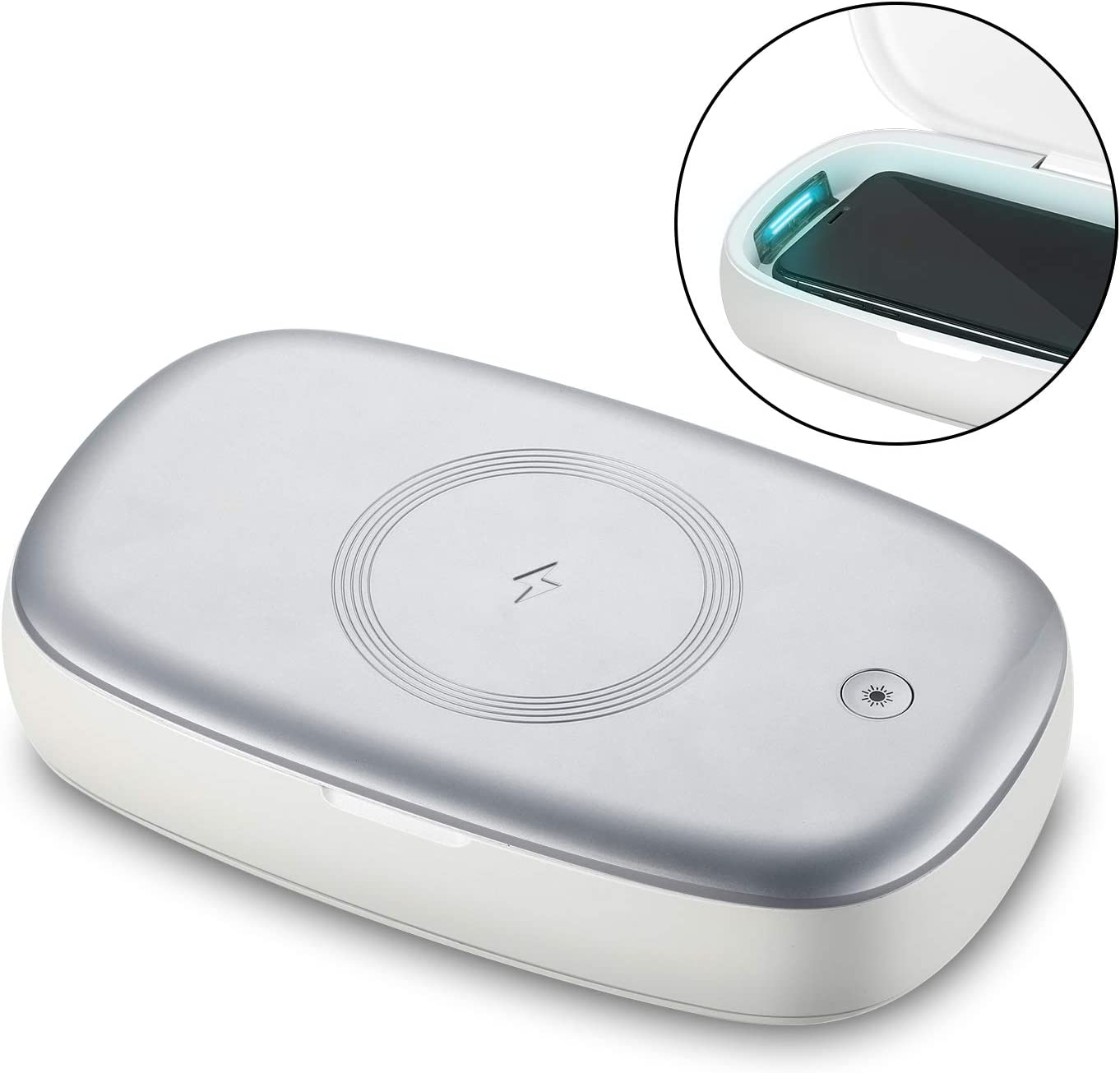 Lecone UV Cell Phone Sanitizer and Wireless Charger Multi-Function Disinfection Box, 3-in-1 Phone Sterilizer Box - Charger & Aromatherapy for iPhone X, XS, XS Max, XR, Samsung Galaxy S10 (Silver)