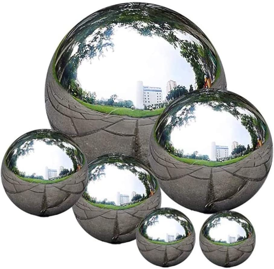 50-150mm Mirror Polished Hollow Ball Gazing Balls Reflective Sphere Balls 6 Pcs for Outdoor Garden Home Stainless Steel Gazing Ball