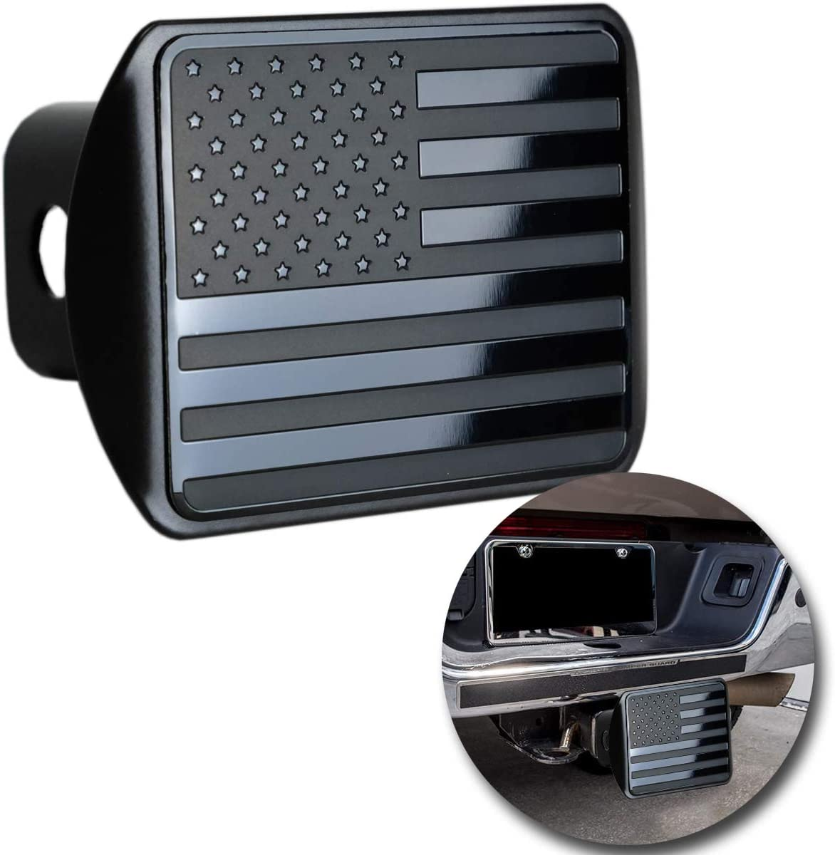 VaygWay American Flag Hitch Cover Patriotic Flag Plug Hitch Cover Metal USA Flag Trailer Hitch Cover