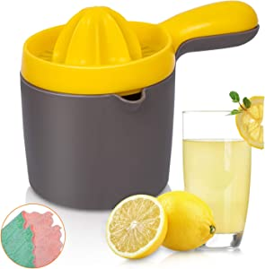 Citrus Juicer Reamer with Container, INAYA Orange Lemon Lime Grapefruit Juice Squeezer, Anti-Slip Manual Fruit Juicer Hand Press Juice Maker, 20-Ounce Capacity