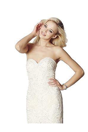 Tiffanys Illusion Prom Champagne Blondie Lace Net Fishtail Dress: Amazon.co.uk: Clothing