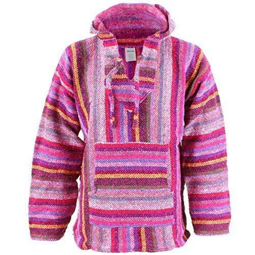 Siesta Mexikanisch Baja Jerga mit Kapuze Hippie Pulli - Rosa Mehrfarbig