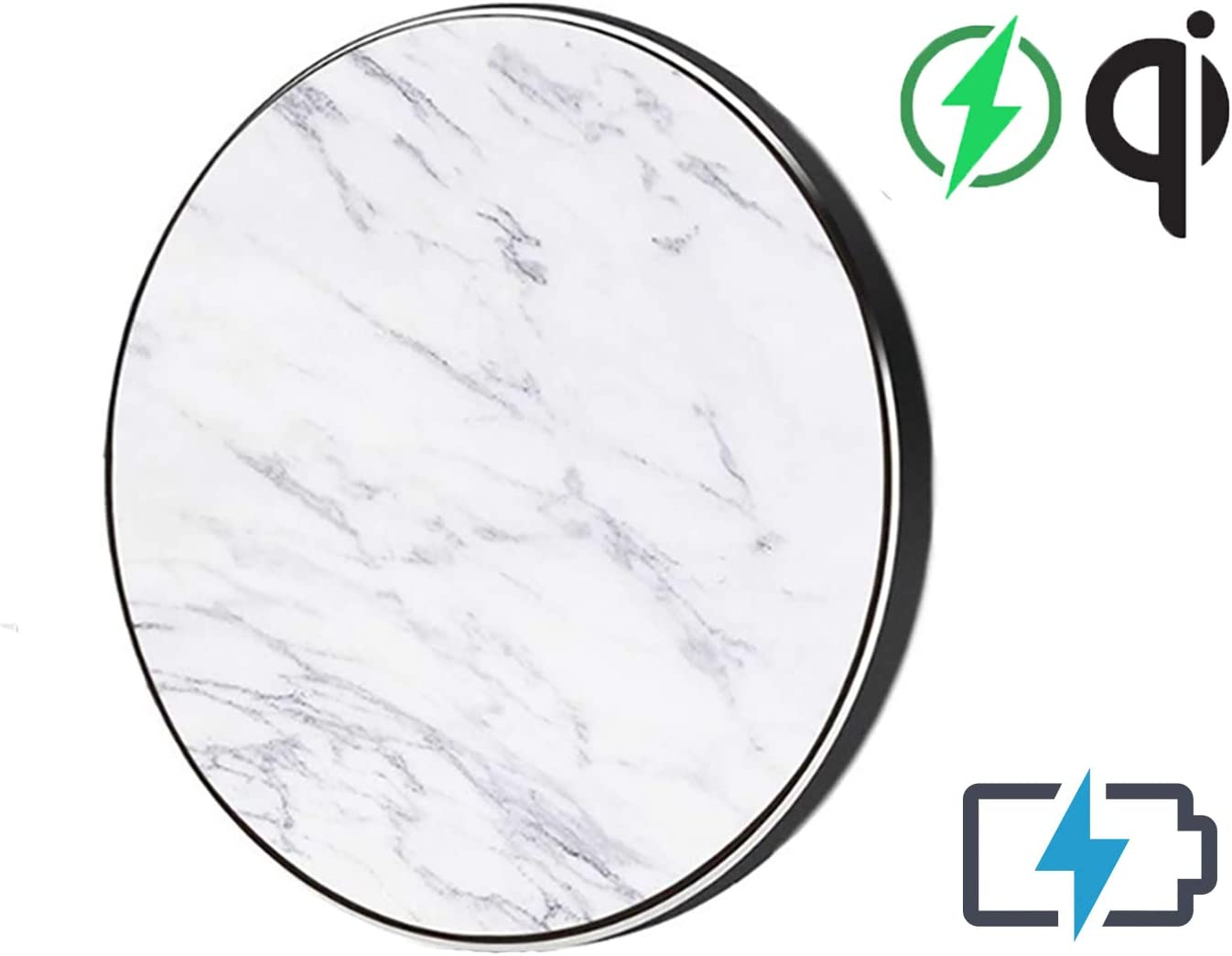 TECHDIRECT Marble Wireless Charger with Extra-Long Micro-USB Rapid Charging Qi Standard 10V LG G6 for Samsung Galaxy S9//Note Slim Fast Charging Pad Compatible with Apple iPhone X//XS//XR//8//8 Plus