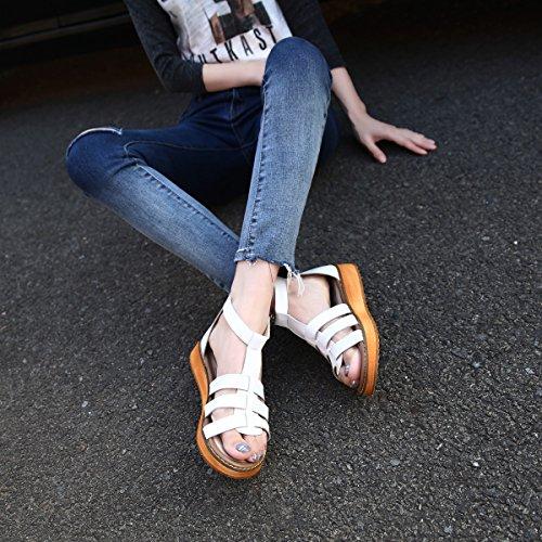 gracosy Sandales Plates Femmes, Chaussures Été en Cuir à Lanières Talons Plats Bride Cheville Nu Pieds à Sytle Greque Tendance 2018 Grande Taille - Noir Marron Blanc Argent Rose Blanc 2