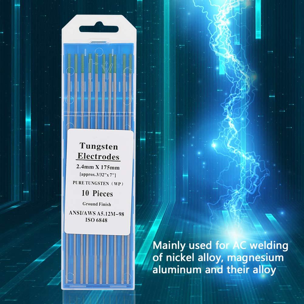 2.0mm*150mm Wifehelper Electrodo de Tungsteno Puro 10 Piezas Varilla Electrodo de Tungsteno Puntas Profesionales de Punta Verde TIG para M/áquina de Soldadura de CA