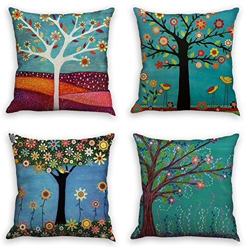 (Throw Pillow Covers Natural Pattern Decorative Pillowcases 18x18inch (4 pieces set) Pillow Cases Home Car Decorative (Trees and birds))