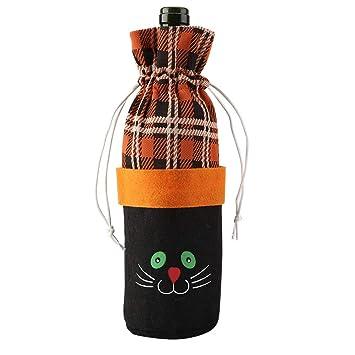 Bolsas para botellas de vino tinto, creativo para botella de vino de Halloween, decoración de fiesta de cocina. Cat