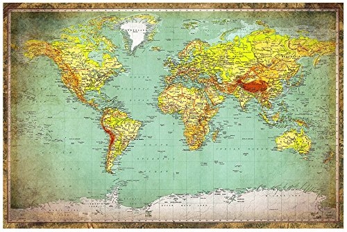 """Huge World Map Vintage Style 24"""" x 36"""" Map of the World"""