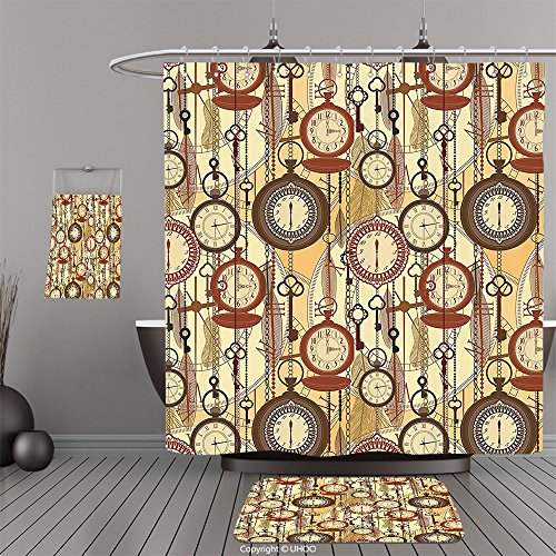 Uhoo Bathroom Suits & Shower Curtains Floor Mats And Bath TowelsBeige Decor Collection Retro Style Old Nostalgic Watches Feathers and Keys 1920s Modern Bohemian Art Red YellowFor Bathroom