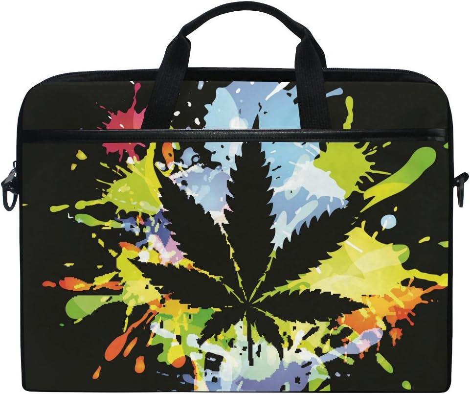 Ahomy - Bolsa para Ordenador portátil de 15 a 15,4 Pulgadas, Hoja Marihuana Cannabis, Tela de Lona, Funda para Ordenador portátil, Bolso de Mano con Correa para el Hombro para Mujeres y Hombres