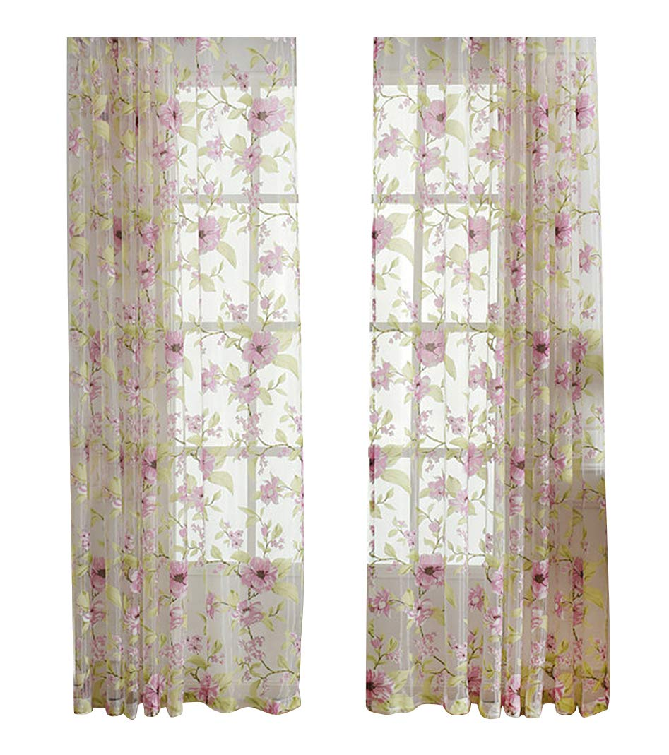ASide BSide Sheer Curtains Voile Drapes Rod Pockets Countryside Style Floral Leaves Printed Home Decorations For Dining Room Bedroom and Kids Room (1 Panel, W 52 x L 63 inch, Pink)