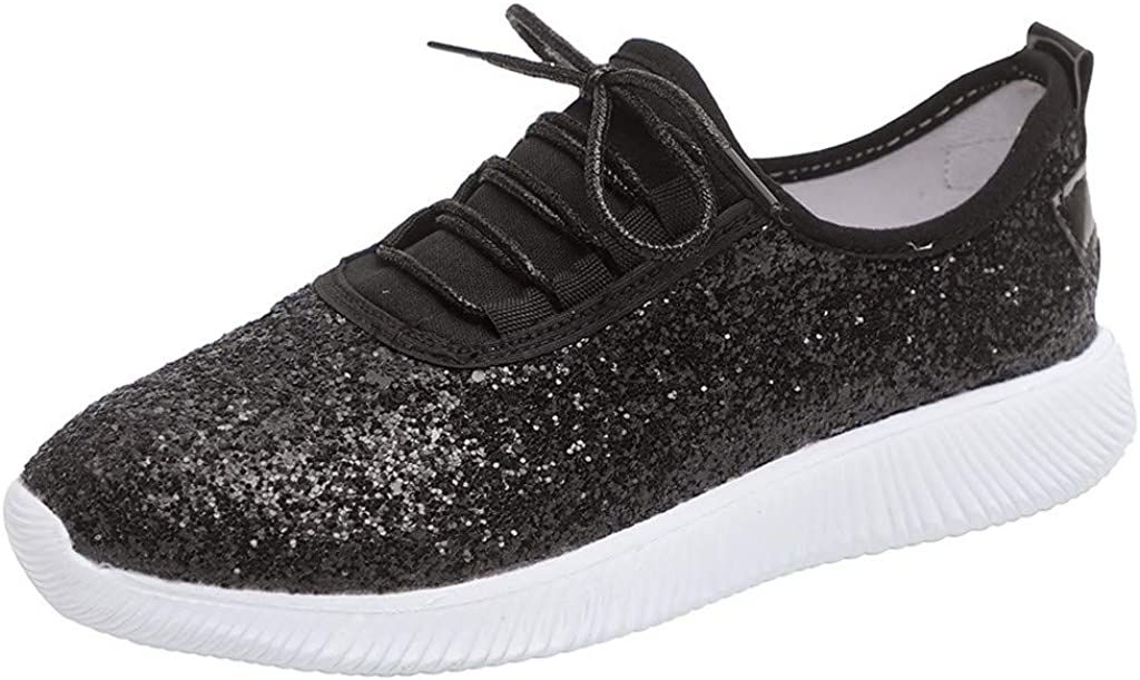 Womens Jogger Sneaker Womens Glitter Tennis Sparkly Sneaker Lightweight Lace Up Shoes